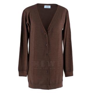 Prada Copper Cashmere Longline Cardigan