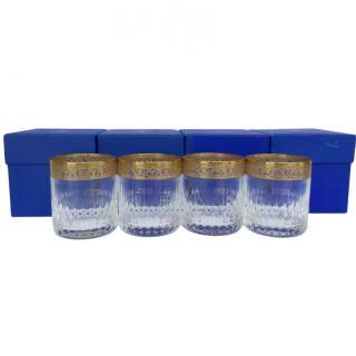 Saint Louis Set of 4 Crystal Thistle Gold Tumblers