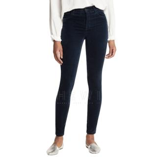 J Brand Navy Maria High Rise Velvet Skinny Trousers