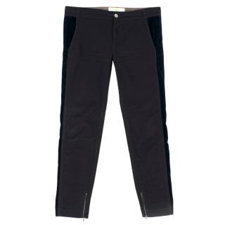 Stella McCartney Black and Navy Velvet Panelled Trousers