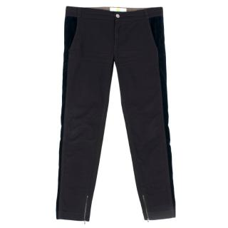 Stella McCartney Black and Navy Velvet Panelled Trousers