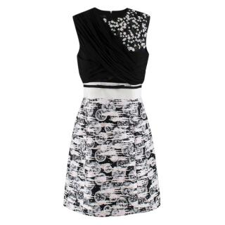 Giambattista Valli Monochrome Embellished Sleeveless Skater Dress