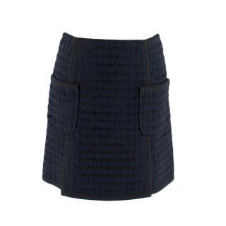 Louis Vuitton Navy Tweed Miniskirt