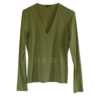Theory Green Long Sleeve Top