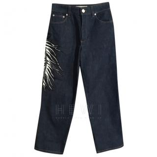 Emilio Pucci feather embroidered jeans