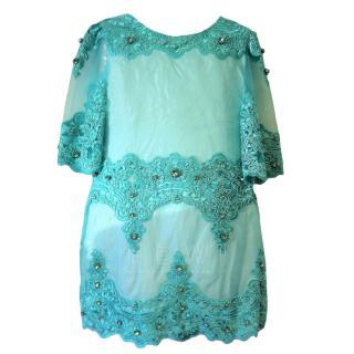 Lesy Girl's Turquoise Dress & Bag
