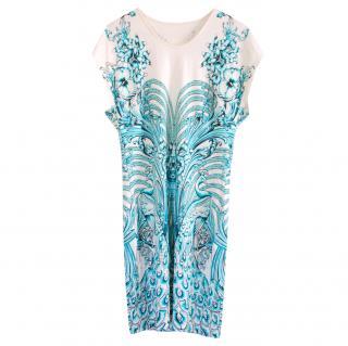 Just Cavalli White & Blue Printed Mini Dress