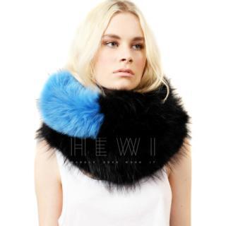 Charlotte Simone Blue & Black Fox & Racoon Fur Popsicle Stole