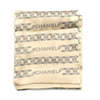 Chanel Cream Silk Chain Print Scarf