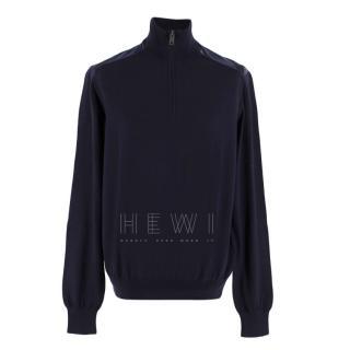 Burberry Half Zip High Neck Navy Sweater