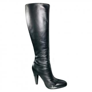 Prada Black Leather Knee Boots