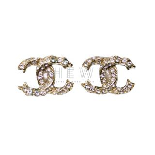 Chanel Crystal CC Stud Earrings