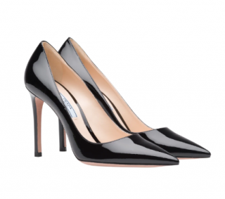Prada Black Patent leather Point Toe Pumps