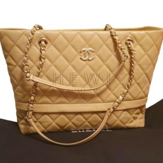 Chanel Beige Quilted Leather Tote Bag