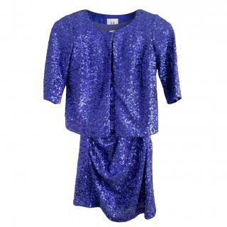Halston Heritage Blue Embellished Mini Dress & Jacket
