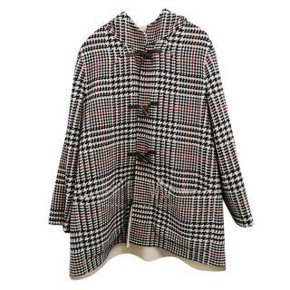 Carolina Herrera Houndstooth Wool Duffle Coat