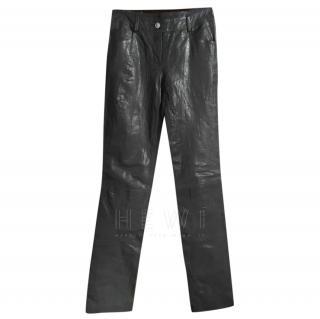 Chanel Black Leather Straight Leg Pants