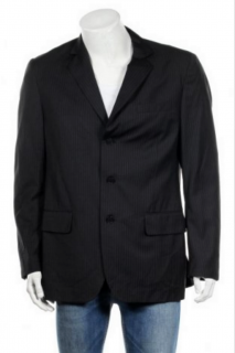 Calvin Klein Single Breasted Striped Suit Jacket