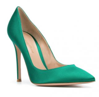 Gianvito Rossi Satin Emerald Green 105 pumps