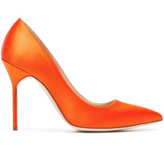 Manolo Blahnik Orange Satin Pumps
