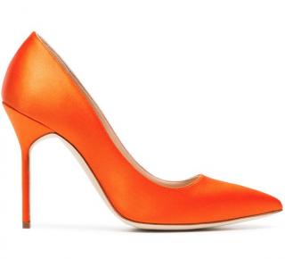 Manolo Blahnik Orange Satin Pumps