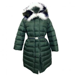 Ermanno Scervino Green Down Jacket W/ Fox & Raccoon Fur Trim