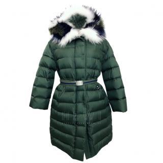 Ermanno Scervino Green Down Jacket W/ Fox & Raccoon Fur Trim