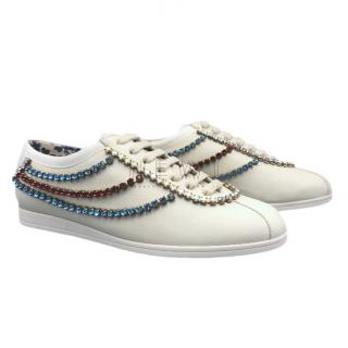 Gucci Falacer Leather & Crystal Trim Sneakers