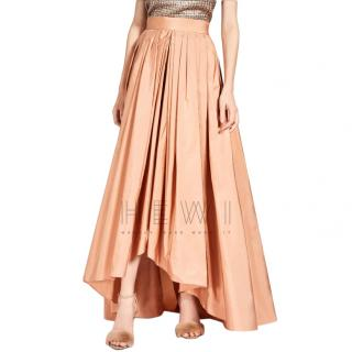 Max Mara Peach Asymmetric Taffeta Circle Skirt