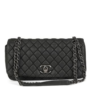 Chanel Quilted Dark Grey Velvet Calfskin Small Leather Bubble Bag