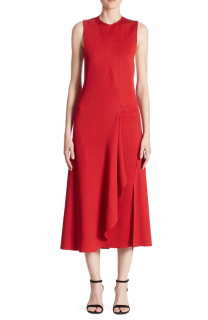 Victoria Beckham red midi dress with cutout details