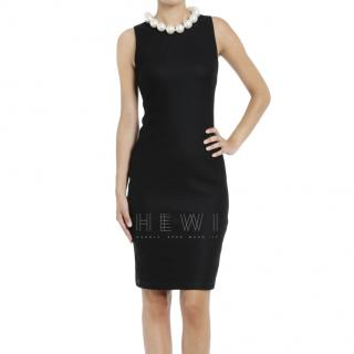 Moschino Cheap & Chic Black Crepe Dress W/ Faux Pearl Collar