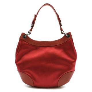 Moschino Red Satin & Leather Handbag