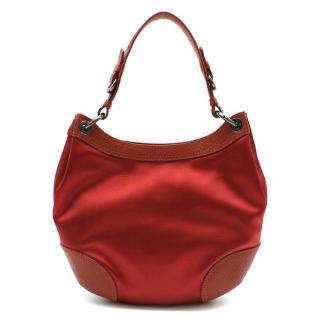 Moschino Red Satin & Leather Handbag