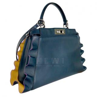 Fendi Navy Bi-Colour Wavy Peekaboo Bag