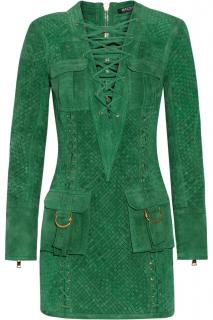 Balmain Green Woven Suede Mini Dress