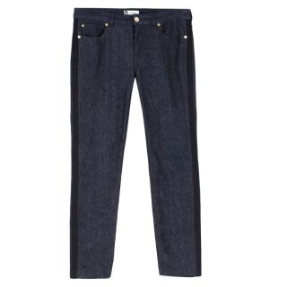 Lanvin Dark Wash Jeans W/ Satin Side Stripe