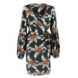 P.A.R.O.S.H. Silk Emerald Printed Wrap Dress