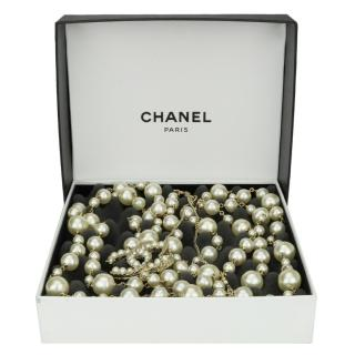 Chanel Double Strand Faux Pearl Necklace