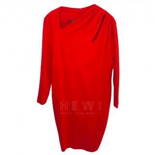 Escada sheath dress in red.