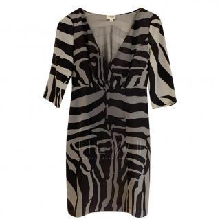 Temperley Shola grey & black silk zebra print dress