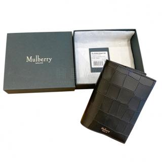 Mulberry Black Mock Croc Passport Holder