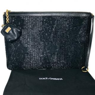 Dolce & Gabbana black leather Wicker style pouch