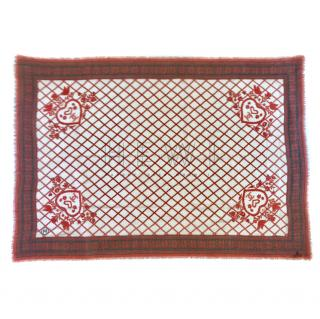 Chanel Red & White Printed Cashmere Stole