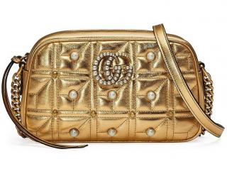 Gucci Metallic Gold Pearl Embellished Marmont Camera Bag