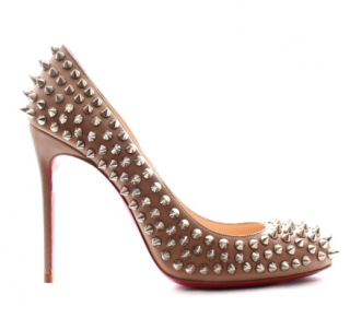 Christian Louboutin Nude Round Toe Spiked Pumps