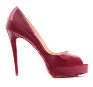 Christian Louboutin Red Patent Leather Peep-Toe Platform Pumps