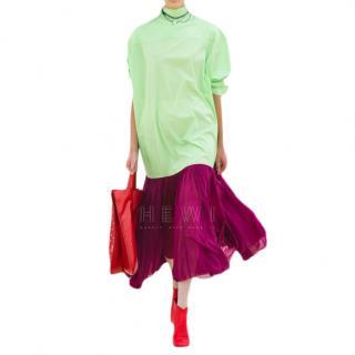 Celine Green & Purple Runway Pleated Dress