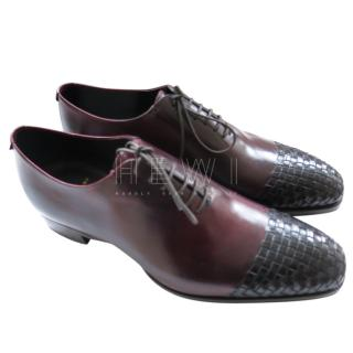 Max Verre Red leather Woven Cap-Toe Derbies