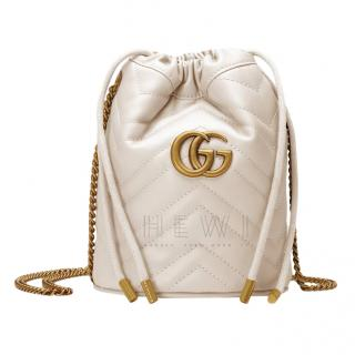 Gucci White Leather GG Marmont Mini Bucket Bag